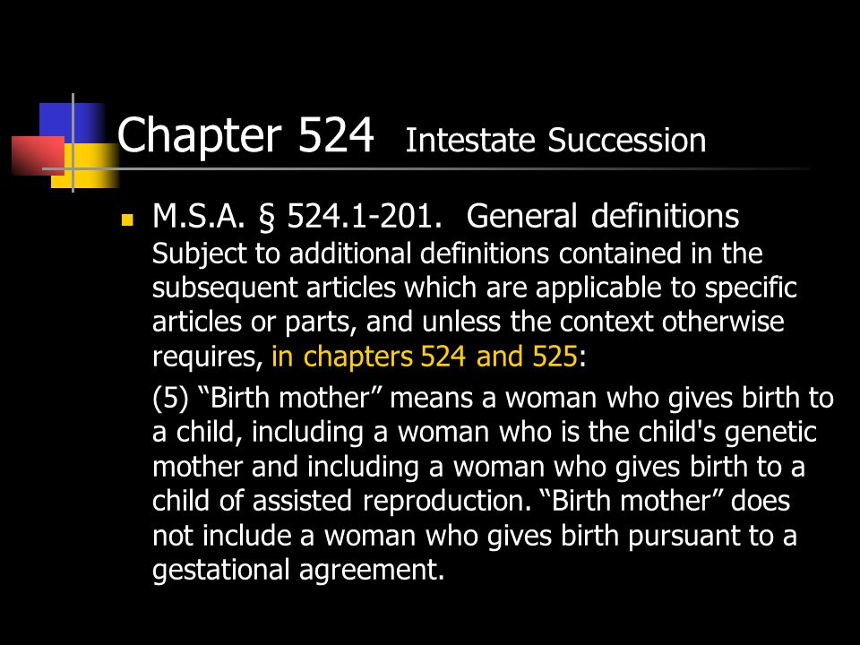Chapter 524 Intestate Succession M.S.A. § 524.1-201.