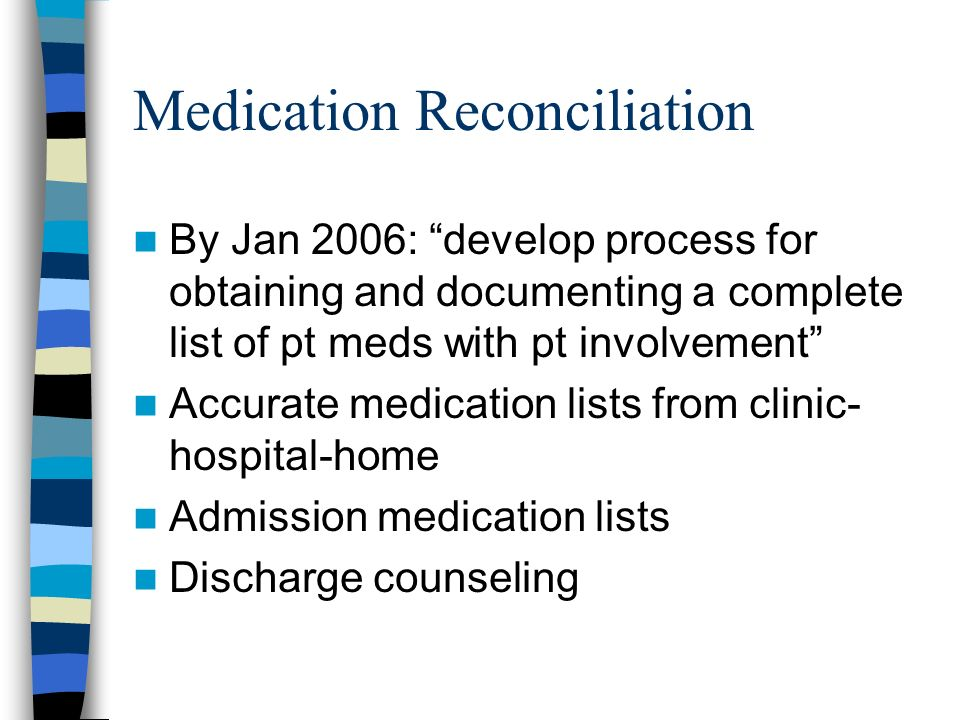 Medication Reconciliation By Jan 2006: develop process for obtaining and documenting a complete list of pt meds with pt involvement Accurate medication lists from clinic- hospital-home Admission medication lists Discharge counseling