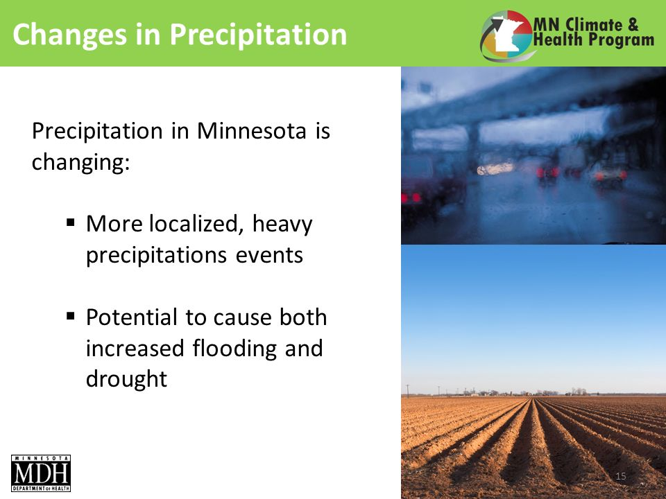 Changes in Precipitation Precipitation in Minnesota is changing: More localized, heavy precipitations events Potential to cause both increased flooding and drought 15