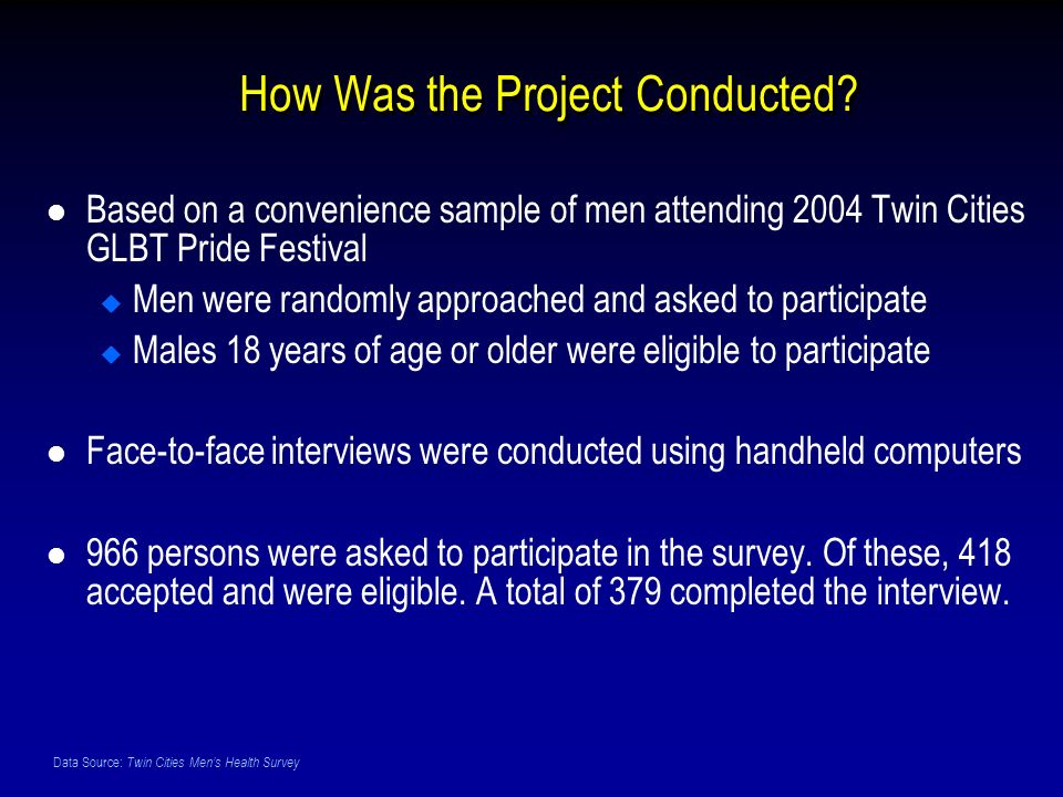 Data Source: Twin Cities Mens Health Survey How Was the Project Conducted.