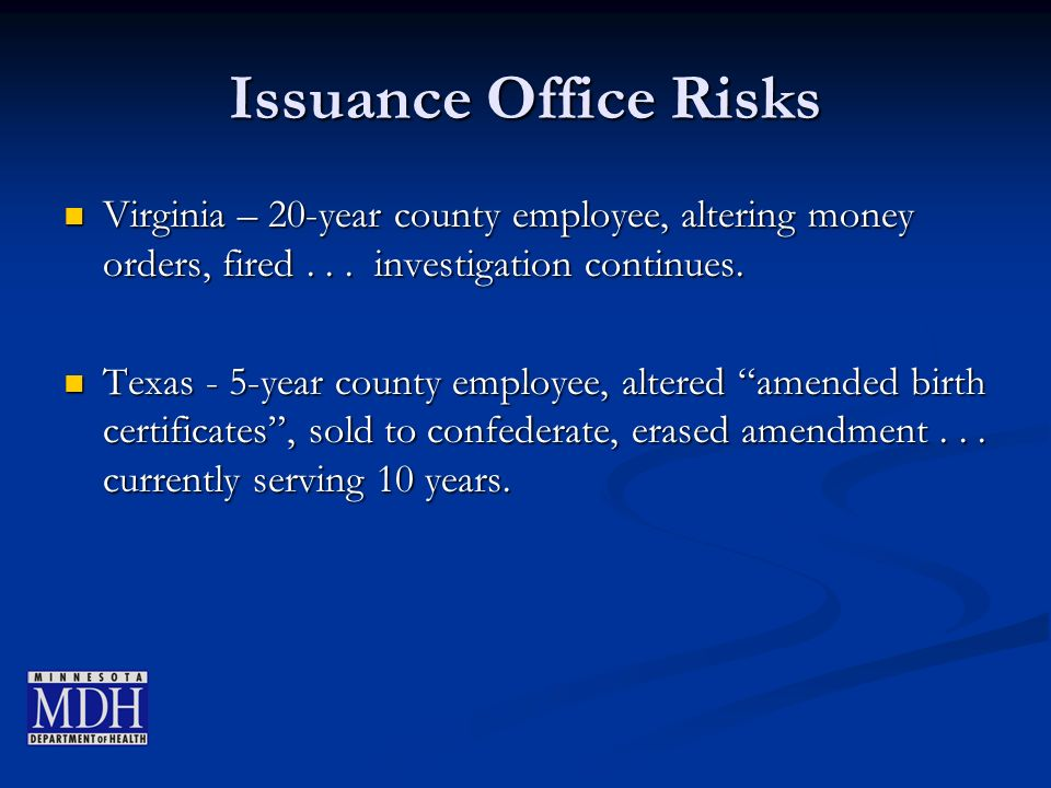 Issuance Office Risks Virginia – 20-year county employee, altering money orders, fired...