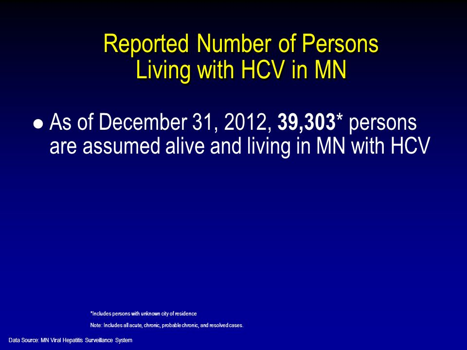 Reported Number of Persons Living with HCV in MN As of December 31, 2012, 39,303 * persons are assumed alive and living in MN with HCV *Includes persons with unknown city of residence Note: Includes all acute, chronic, probable chronic, and resolved cases.
