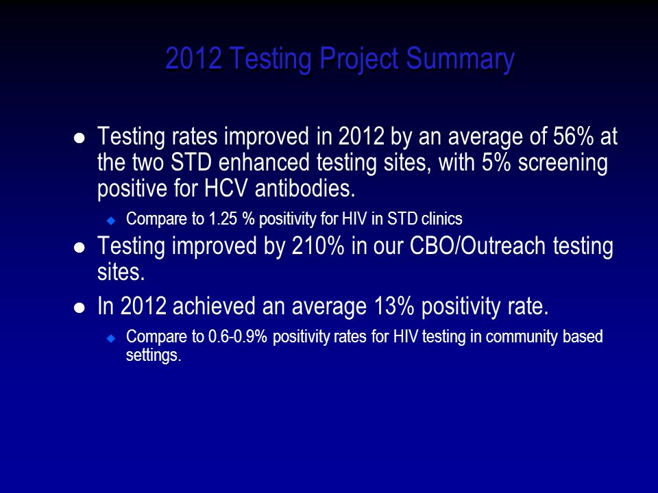 2012 Testing Project Summary Testing rates improved in 2012 by an average of 56% at the two STD enhanced testing sites, with 5% screening positive for HCV antibodies.