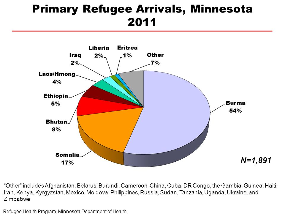 Primary Refugee Arrivals, Minnesota 2011 N=1,891 Refugee Health Program, Minnesota Department of Health Other includes Afghanistan, Belarus, Burundi, Cameroon, China, Cuba, DR Congo, the Gambia, Guinea, Haiti, Iran, Kenya, Kyrgyzstan, Mexico, Moldova, Philippines, Russia, Sudan, Tanzania, Uganda, Ukraine, and Zimbabwe