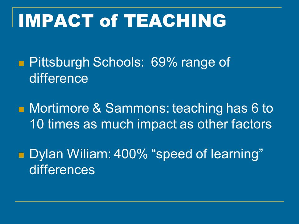 IMPACT of TEACHING Pittsburgh Schools: 69% range of difference Mortimore & Sammons: teaching has 6 to 10 times as much impact as other factors Dylan Wiliam: 400% speed of learning differences