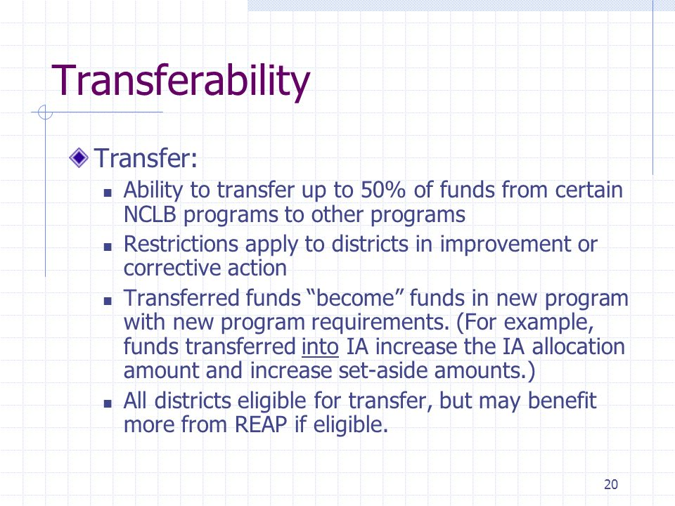 20 Transferability Transfer: Ability to transfer up to 50% of funds from certain NCLB programs to other programs Restrictions apply to districts in improvement or corrective action Transferred funds become funds in new program with new program requirements.