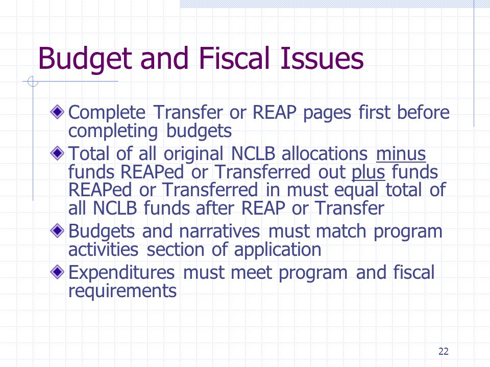 22 Budget and Fiscal Issues Complete Transfer or REAP pages first before completing budgets Total of all original NCLB allocations minus funds REAPed or Transferred out plus funds REAPed or Transferred in must equal total of all NCLB funds after REAP or Transfer Budgets and narratives must match program activities section of application Expenditures must meet program and fiscal requirements