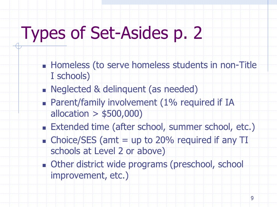 9 Types of Set-Asides p.