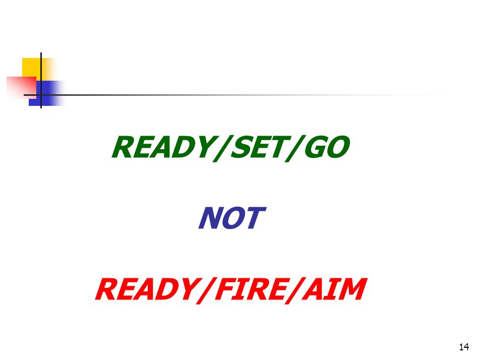 14 READY/SET/GO NOT READY/FIRE/AIM