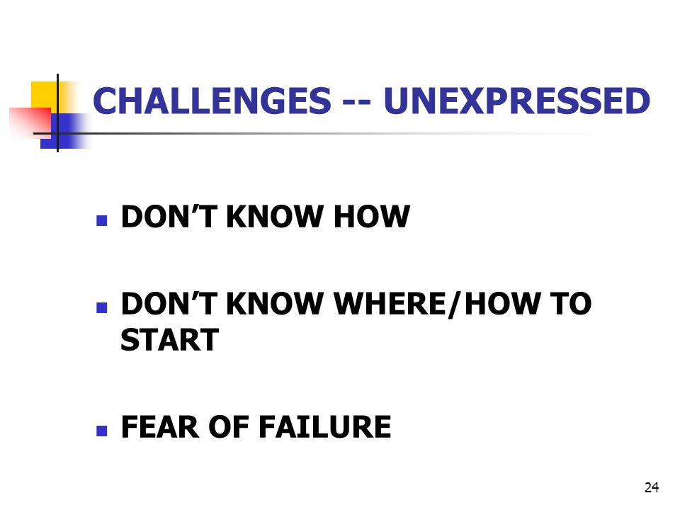 24 CHALLENGES -- UNEXPRESSED DONT KNOW HOW DONT KNOW WHERE/HOW TO START FEAR OF FAILURE