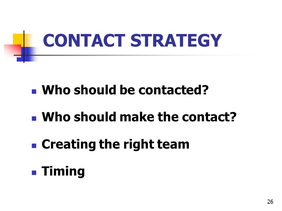 26 CONTACT STRATEGY Who should be contacted. Who should make the contact.