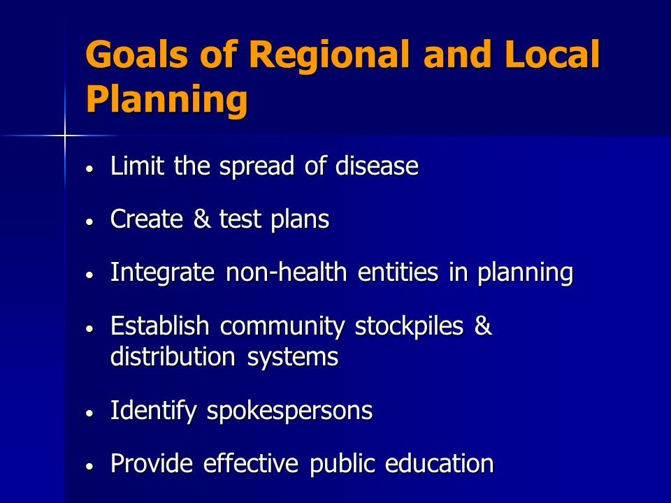 Goals of Regional and Local Planning Limit the spread of disease Limit the spread of disease Create & test plans Create & test plans Integrate non-health entities in planning Integrate non-health entities in planning Establish community stockpiles & distribution systems Establish community stockpiles & distribution systems Identify spokespersons Identify spokespersons Provide effective public education Provide effective public education