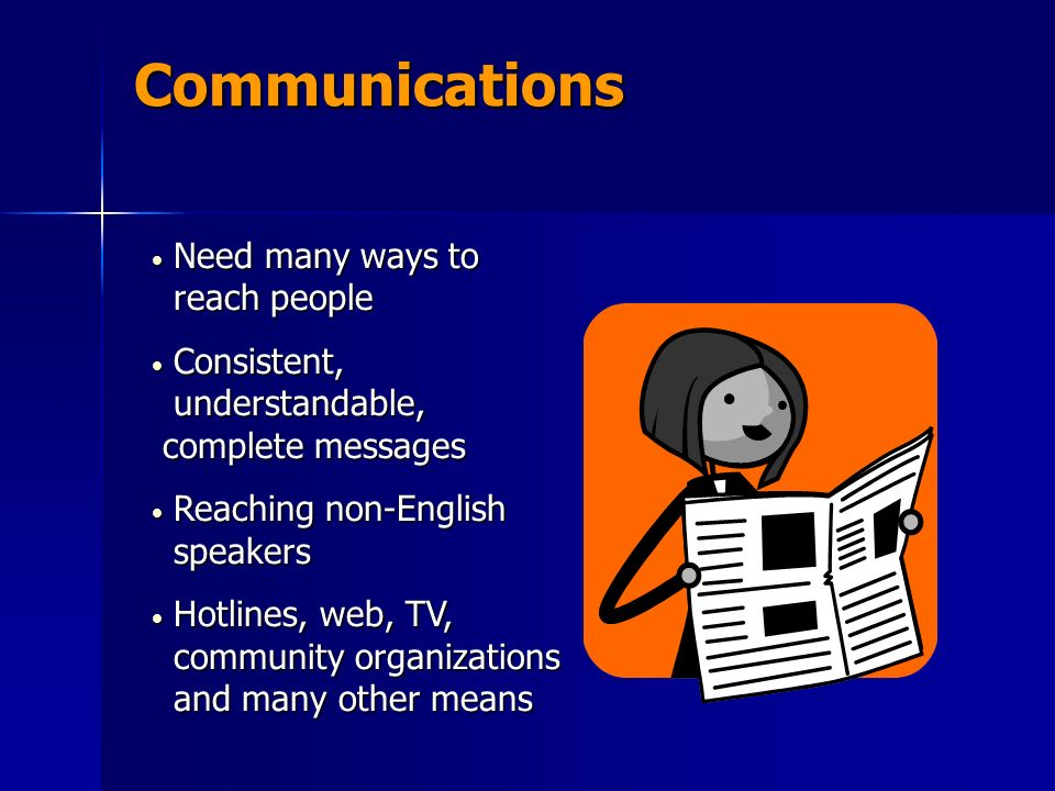 Communications Need many ways to reach people Need many ways to reach people Consistent, understandable, complete messages Consistent, understandable, complete messages Reaching non-English speakers Reaching non-English speakers Hotlines, web, TV, community organizations and many other means Hotlines, web, TV, community organizations and many other means