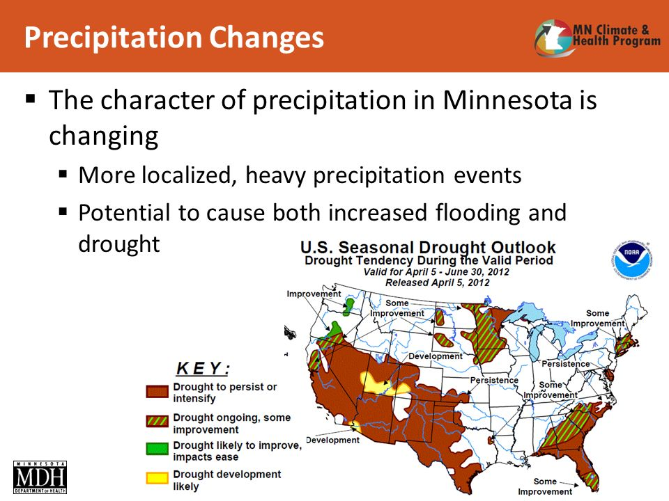 Precipitation Changes 12 The character of precipitation in Minnesota is changing More localized, heavy precipitation events Potential to cause both increased flooding and drought