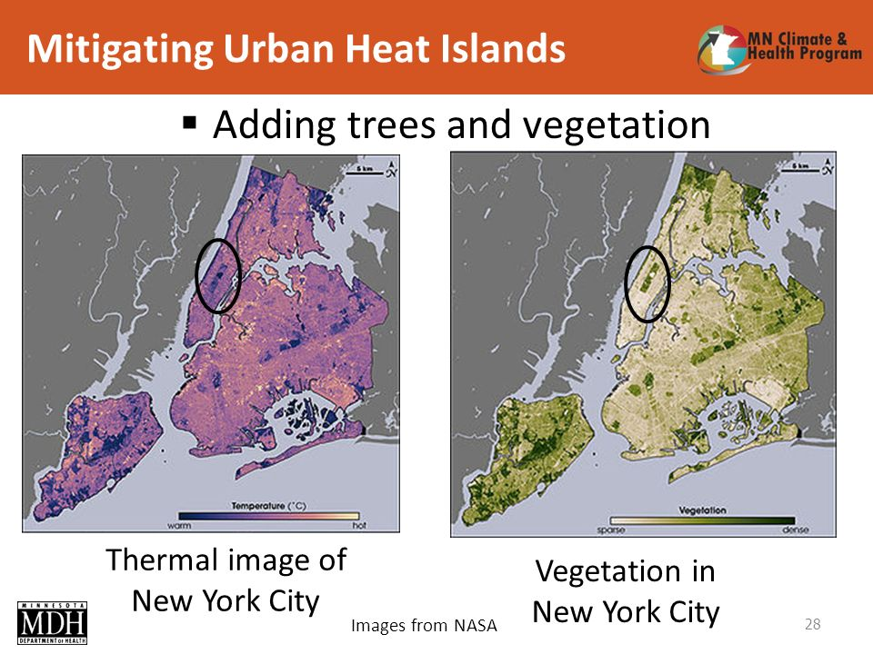 Mitigating Urban Heat Islands 28 Thermal image of New York City Vegetation in New York City Adding trees and vegetation Images from NASA