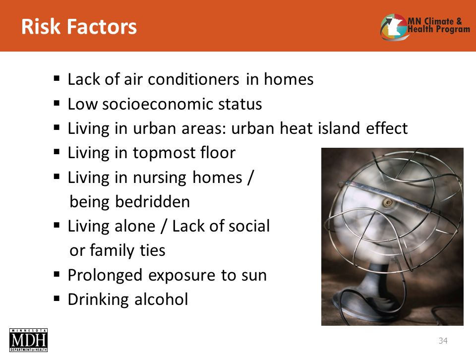 Risk Factors 34 Lack of air conditioners in homes Low socioeconomic status Living in urban areas: urban heat island effect Living in topmost floor Living in nursing homes / being bedridden Living alone / Lack of social or family ties Prolonged exposure to sun Drinking alcohol