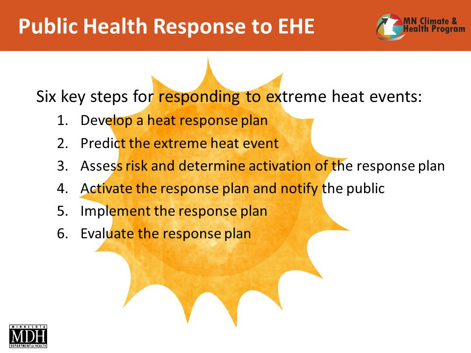 Public Health Response to EHE Six key steps for responding to extreme heat events: 1.Develop a heat response plan 2.Predict the extreme heat event 3.Assess risk and determine activation of the response plan 4.Activate the response plan and notify the public 5.Implement the response plan 6.Evaluate the response plan