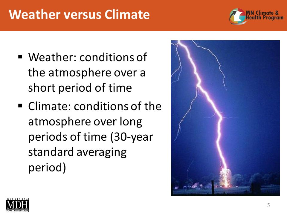 Weather versus Climate Weather: conditions of the atmosphere over a short period of time Climate: conditions of the atmosphere over long periods of time (30-year standard averaging period) 5
