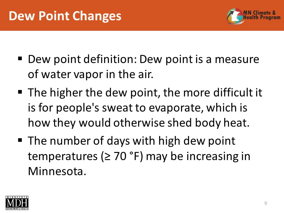 Dew Point Changes 9 Dew point definition: Dew point is a measure of water vapor in the air.