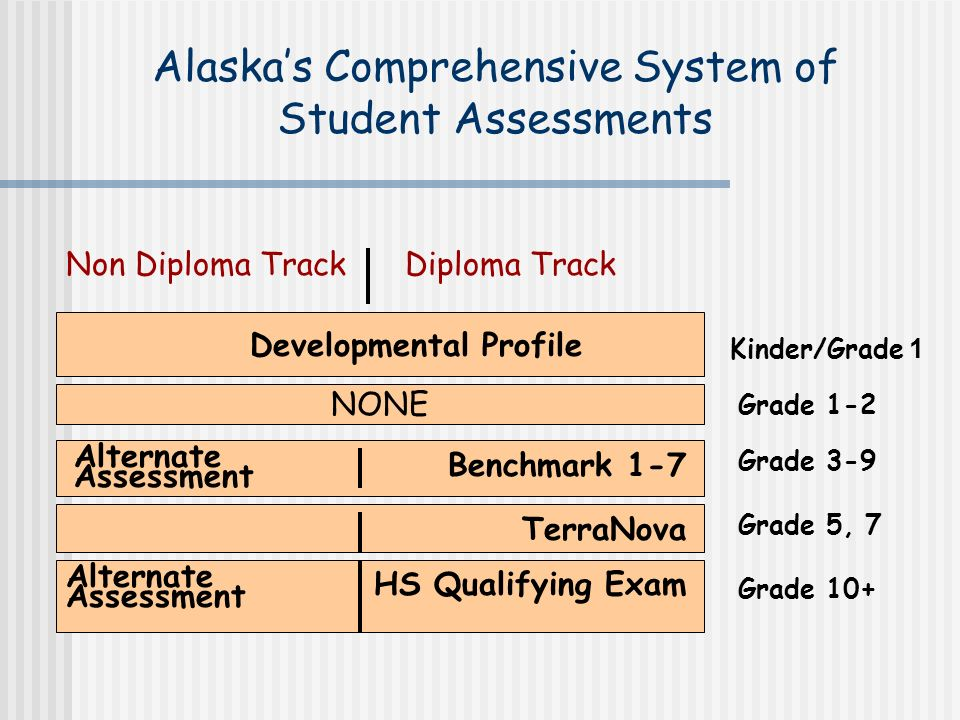 Alaskas Comprehensive System of Student Assessments Grade 3-9 Grade 10+ Developmental Profile Kinder/Grade 1 HS Qualifying Exam Benchmark 1-7 TerraNova Alternate Assessment Grade 5, 7 NONE Grade 1-2 Non Diploma Track Diploma Track