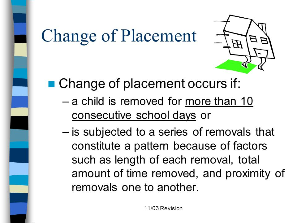 11/03 Revision Discipline Under Section 504 A school district cannot implement a disciplinary action which constitutes a significant change in a disabled students educational placement until it has satisfied required change of placement procedures.