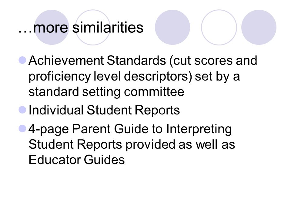 …more similarities Achievement Standards (cut scores and proficiency level descriptors) set by a standard setting committee Individual Student Reports 4-page Parent Guide to Interpreting Student Reports provided as well as Educator Guides