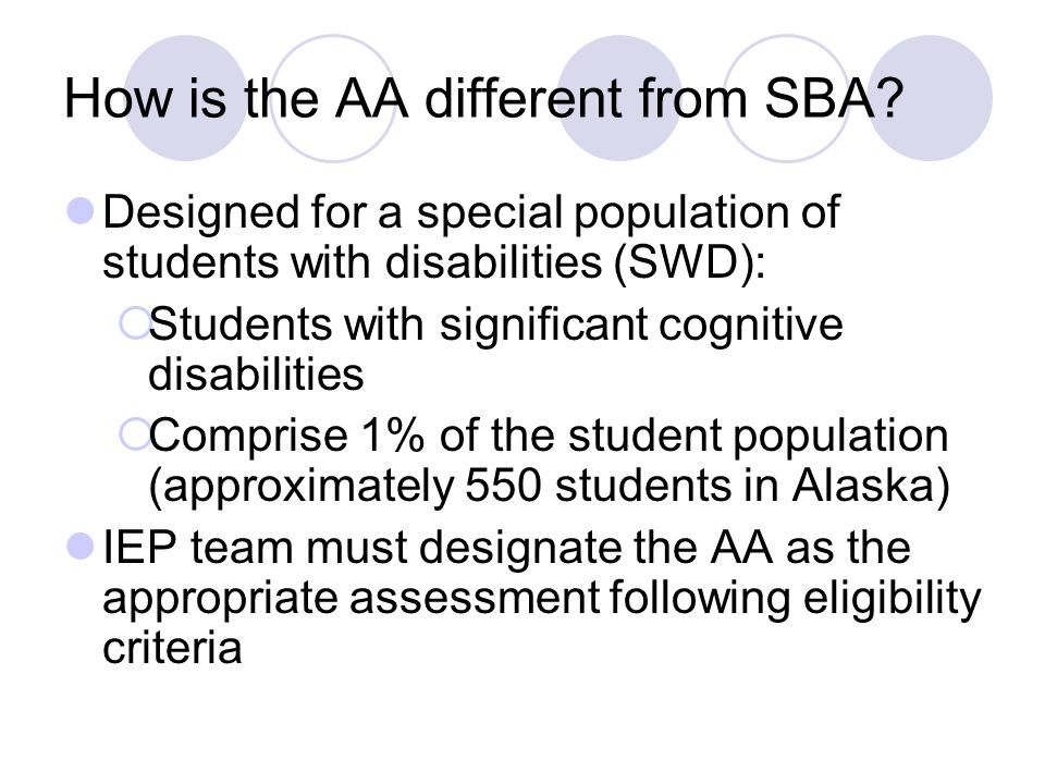 How is the AA different from SBA.