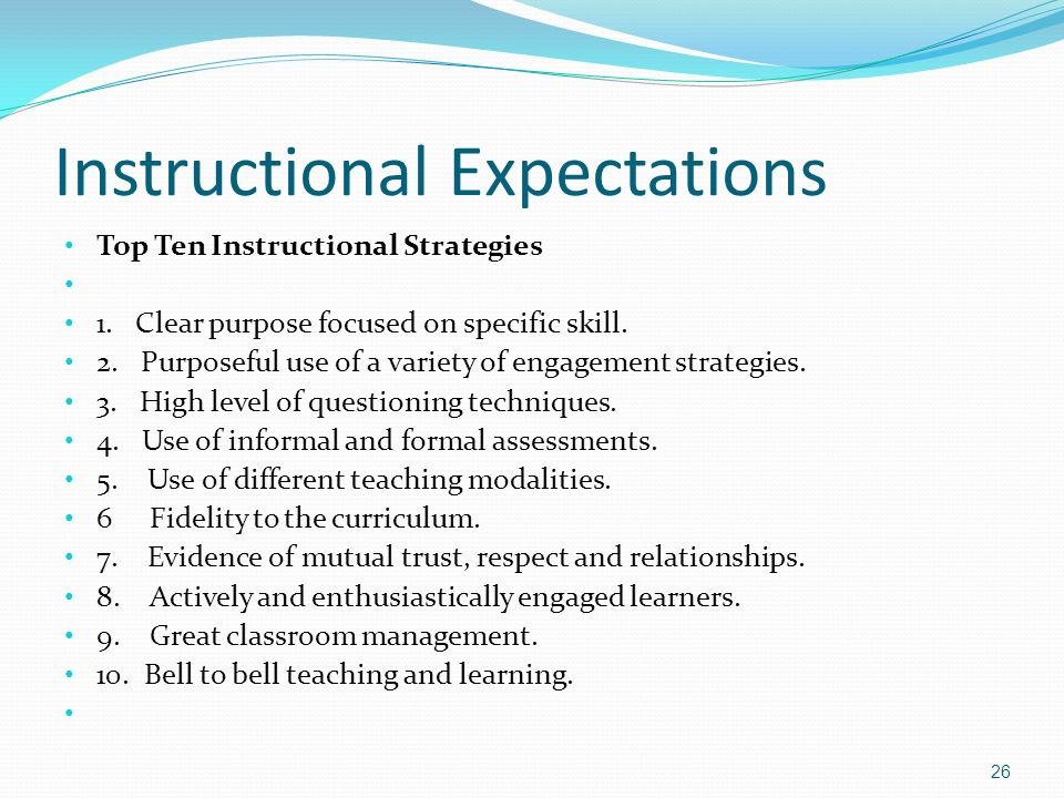 Instructional Expectations Top Ten Instructional Strategies 1.