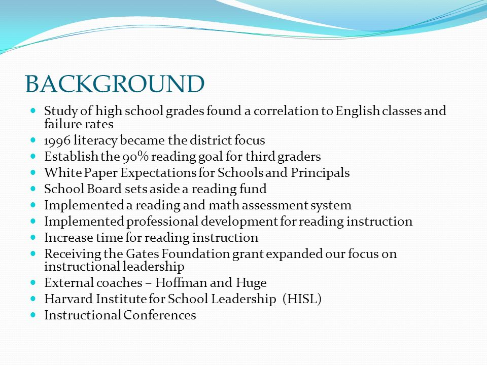 BACKGROUND Study of high school grades found a correlation to English classes and failure rates 1996 literacy became the district focus Establish the 90% reading goal for third graders White Paper Expectations for Schools and Principals School Board sets aside a reading fund Implemented a reading and math assessment system Implemented professional development for reading instruction Increase time for reading instruction Receiving the Gates Foundation grant expanded our focus on instructional leadership External coaches – Hoffman and Huge Harvard Institute for School Leadership (HISL) Instructional Conferences