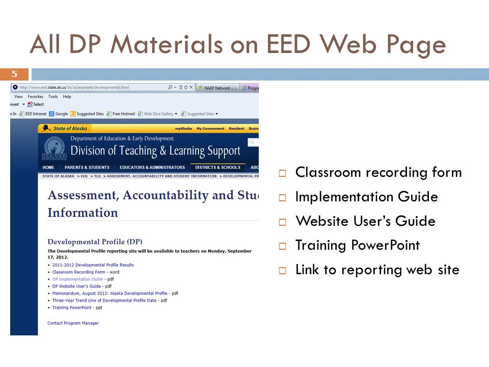 All DP Materials on EED Web Page 5 Classroom recording form Implementation Guide Website Users Guide Training PowerPoint Link to reporting web site