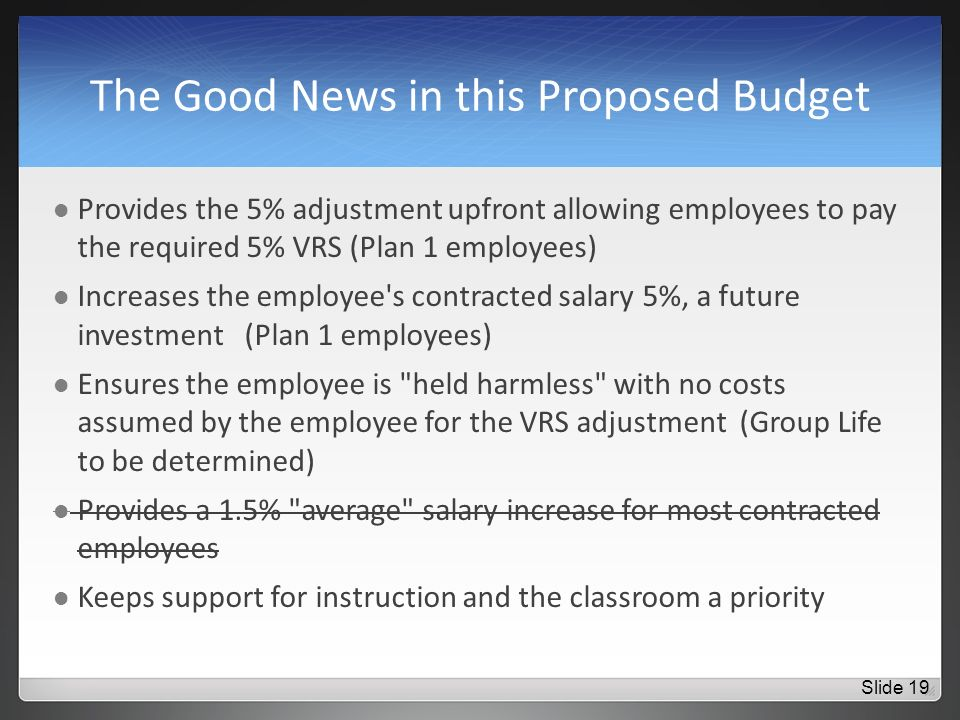The Good News in this Proposed Budget Provides the 5% adjustment upfront allowing employees to pay the required 5% VRS (Plan 1 employees) Increases the employee s contracted salary 5%, a future investment (Plan 1 employees) Ensures the employee is held harmless with no costs assumed by the employee for the VRS adjustment (Group Life to be determined) Provides a 1.5% average salary increase for most contracted employees Keeps support for instruction and the classroom a priority Slide 19