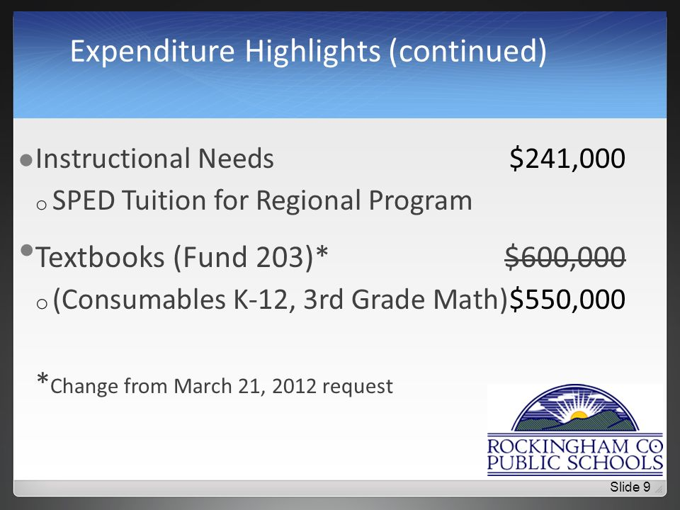 Expenditure Highlights (continued) Instructional Needs$241,000 o SPED Tuition for Regional Program Textbooks (Fund 203)*$600,000 o (Consumables K-12, 3rd Grade Math)$550,000 * Change from March 21, 2012 request Slide 9