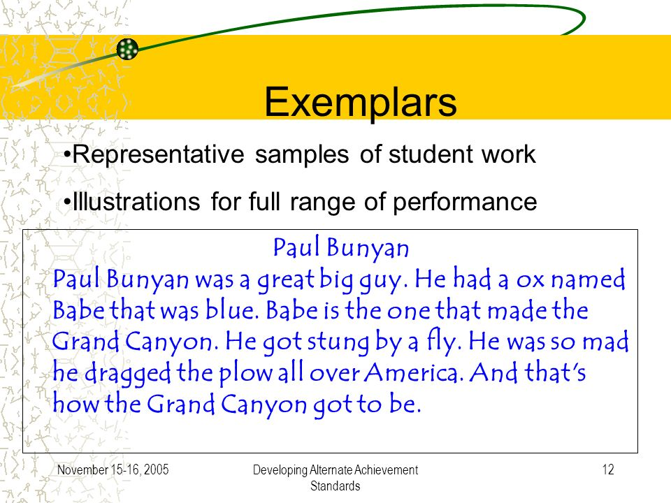 November 15-16, 2005Developing Alternate Achievement Standards 12 Exemplars Representative samples of student work Illustrations for full range of performance Paul Bunyan Paul Bunyan was a great big guy.