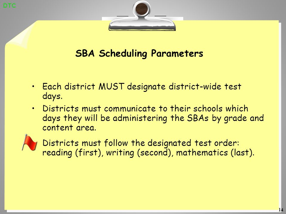 14 SBA Scheduling Parameters Each district MUST designate district-wide test days.
