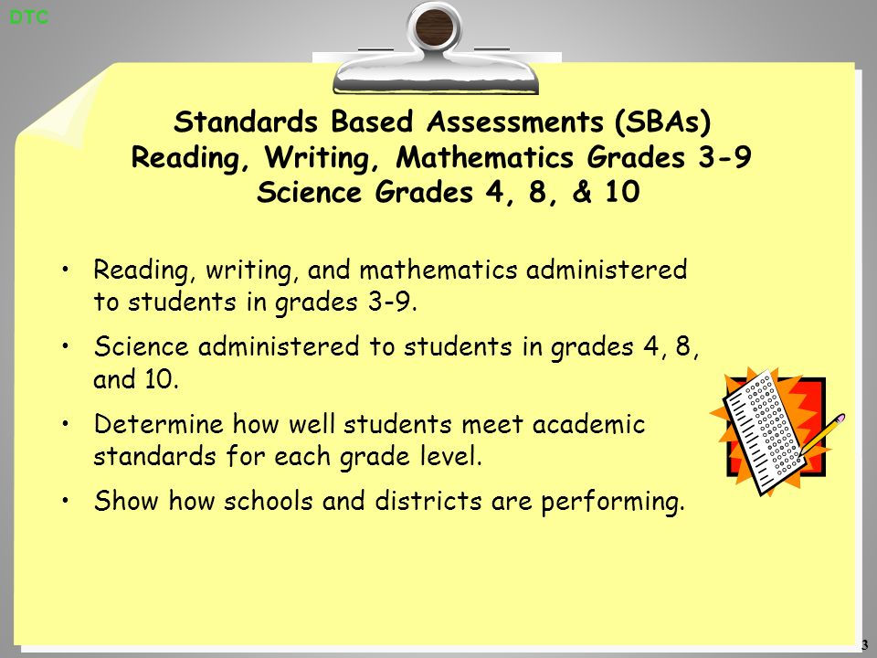 3 Standards Based Assessments (SBAs) Reading, Writing, Mathematics Grades 3-9 Science Grades 4, 8, & 10 Reading, writing, and mathematics administered to students in grades 3-9.