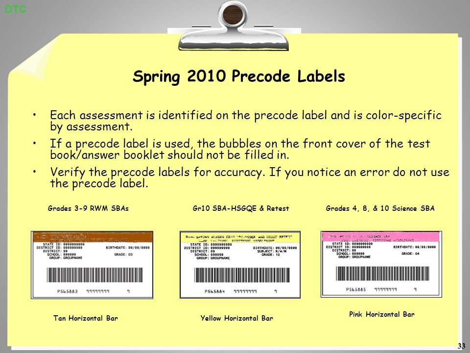 33 Spring 2010 Precode Labels Each assessment is identified on the precode label and is color-specific by assessment.