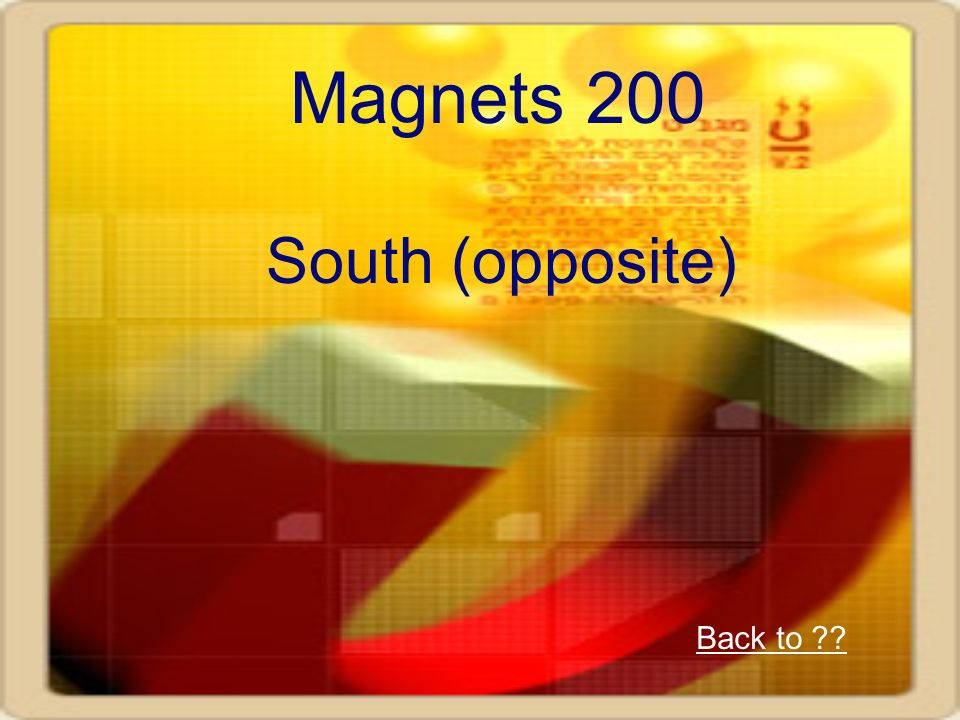 Magnets 200 South (opposite) Back to