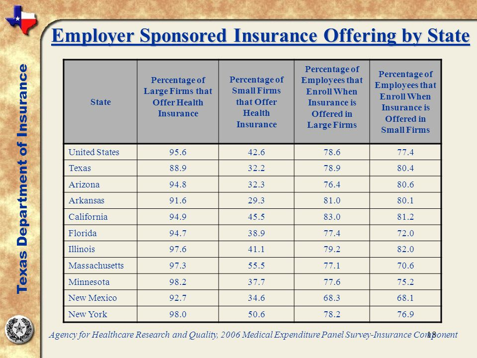 18 State Percentage of Large Firms that Offer Health Insurance Percentage of Small Firms that Offer Health Insurance Percentage of Employees that Enroll When Insurance is Offered in Large Firms Percentage of Employees that Enroll When Insurance is Offered in Small Firms United States95.642.678.677.4 Texas88.932.278.980.4 Arizona94.832.376.480.6 Arkansas91.629.381.080.1 California94.945.583.081.2 Florida94.738.977.472.0 Illinois97.641.179.282.0 Massachusetts97.355.577.170.6 Minnesota98.237.777.675.2 New Mexico92.734.668.368.1 New York98.050.678.276.9 Agency for Healthcare Research and Quality, 2006 Medical Expenditure Panel Survey-Insurance Component Texas Department of Insurance Employer Sponsored Insurance Offering by State