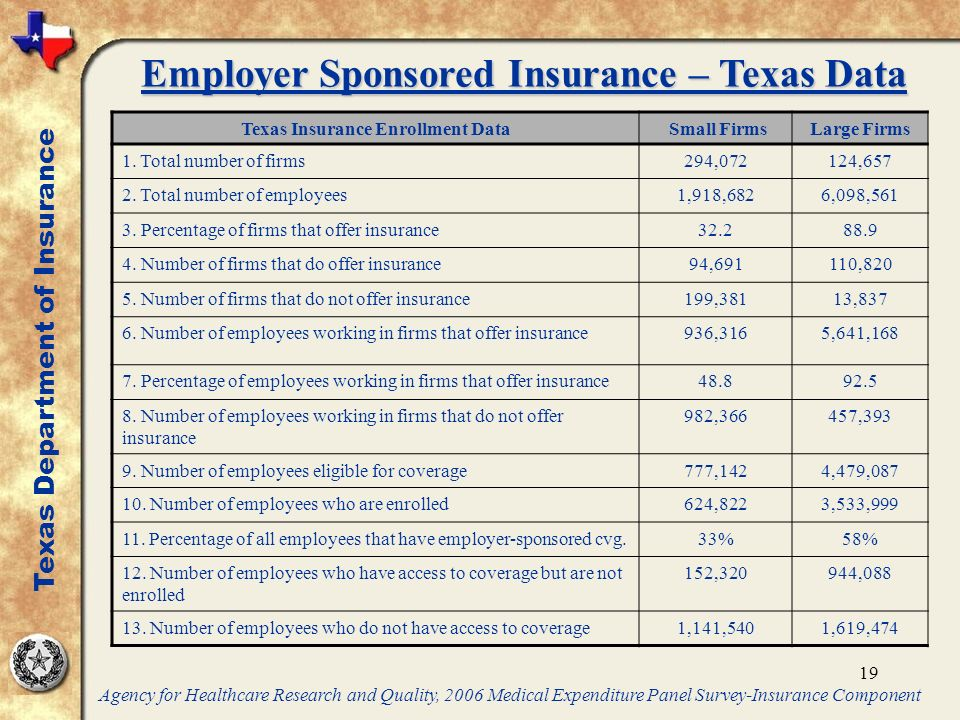 19 Texas Insurance Enrollment Data Small FirmsLarge Firms 1.