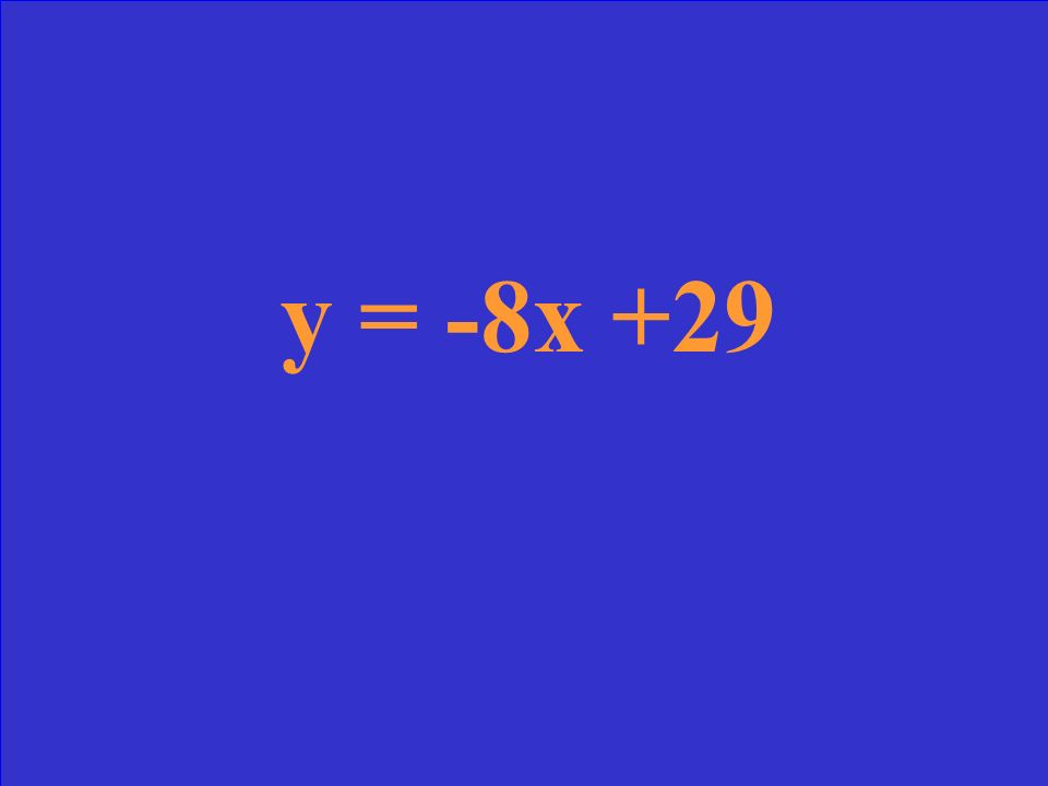 Write the equation of the line that passes through the points (3, 5) & (4, -3)