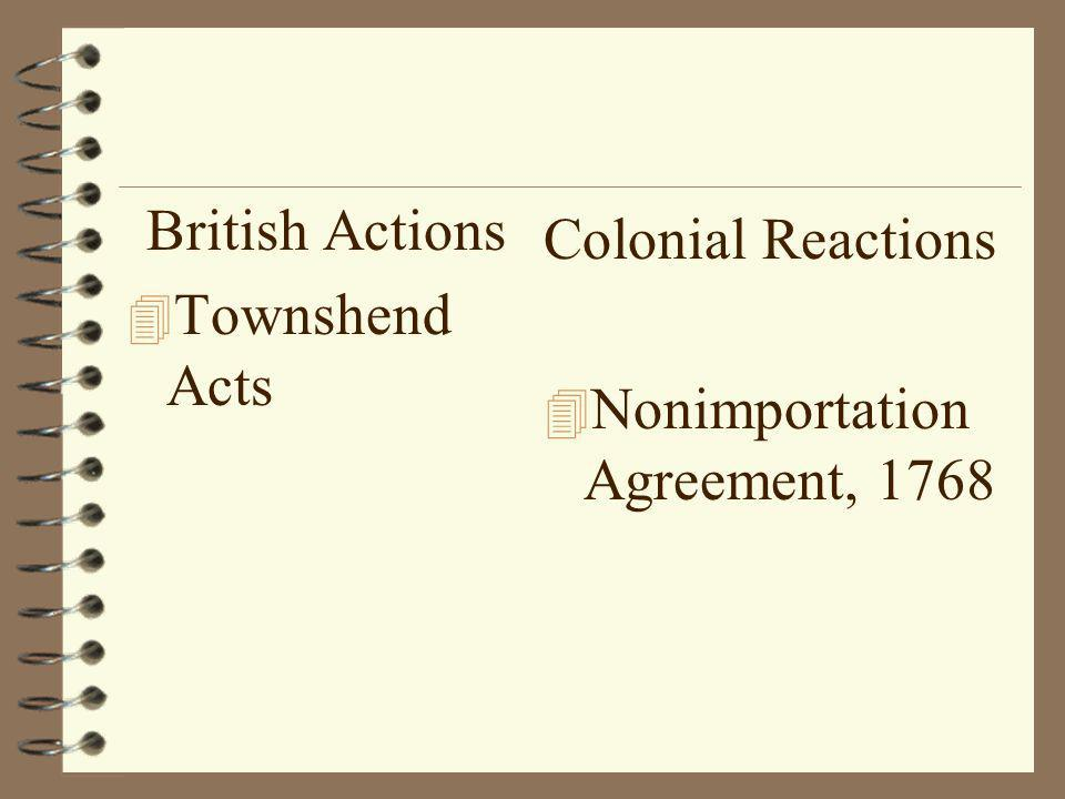British Actions 4 Townshend Acts Colonial Reactions 4 Nonimportation Agreement, 1768