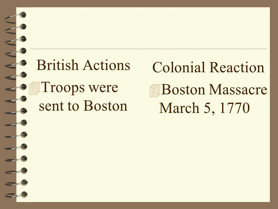 British Actions 4 Troops were sent to Boston Colonial Reaction 4 Boston Massacre March 5, 1770