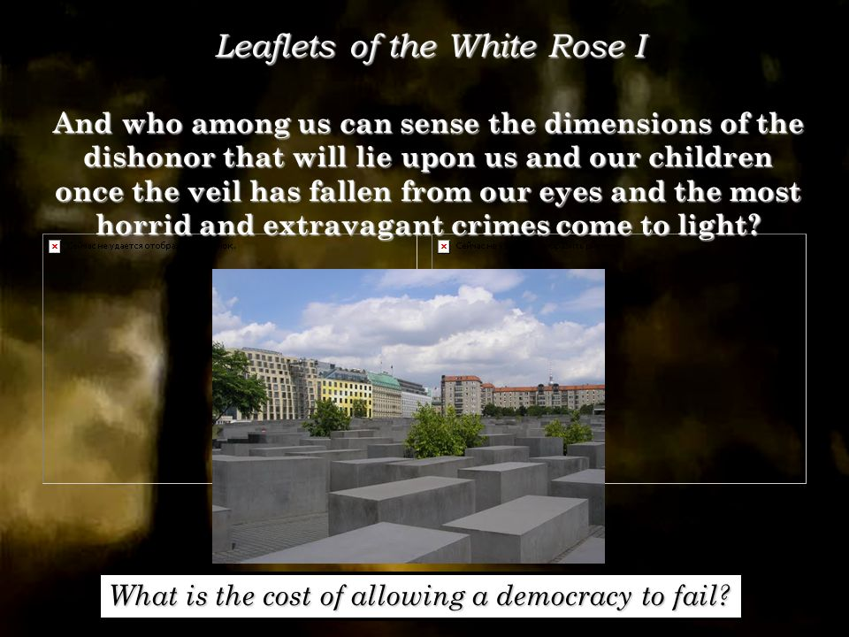 Leaflets of the White Rose I And who among us can sense the dimensions of the dishonor that will lie upon us and our children once the veil has fallen from our eyes and the most horrid and extravagant crimes come to light.