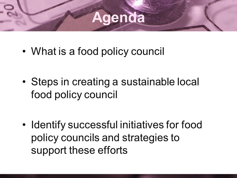 Agenda What is a food policy council Steps in creating a sustainable local food policy council Identify successful initiatives for food policy councils and strategies to support these efforts