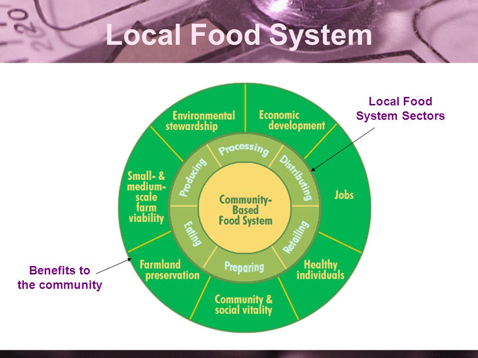 Local Food System Local Food System Sectors Benefits to the community