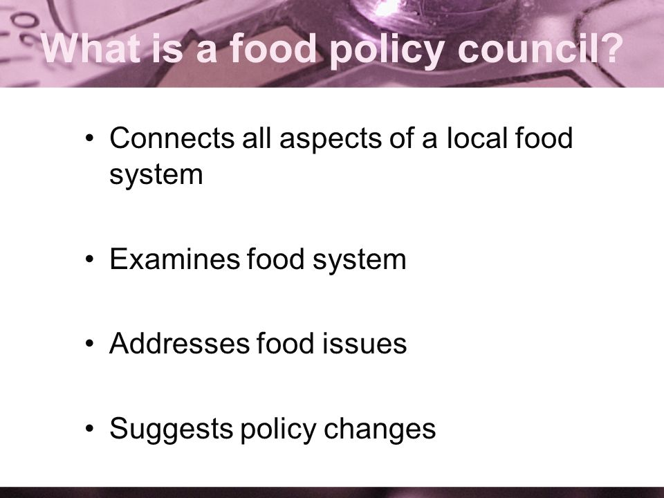 What is a food policy council.
