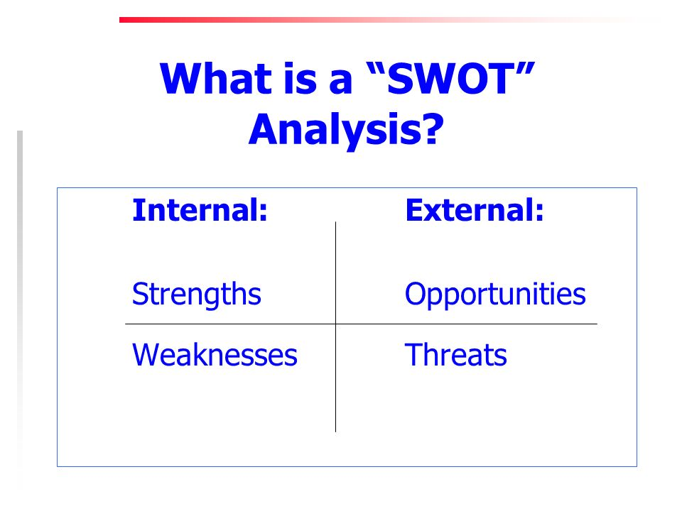 What is a SWOT Analysis Internal:External: StrengthsOpportunities WeaknessesThreats