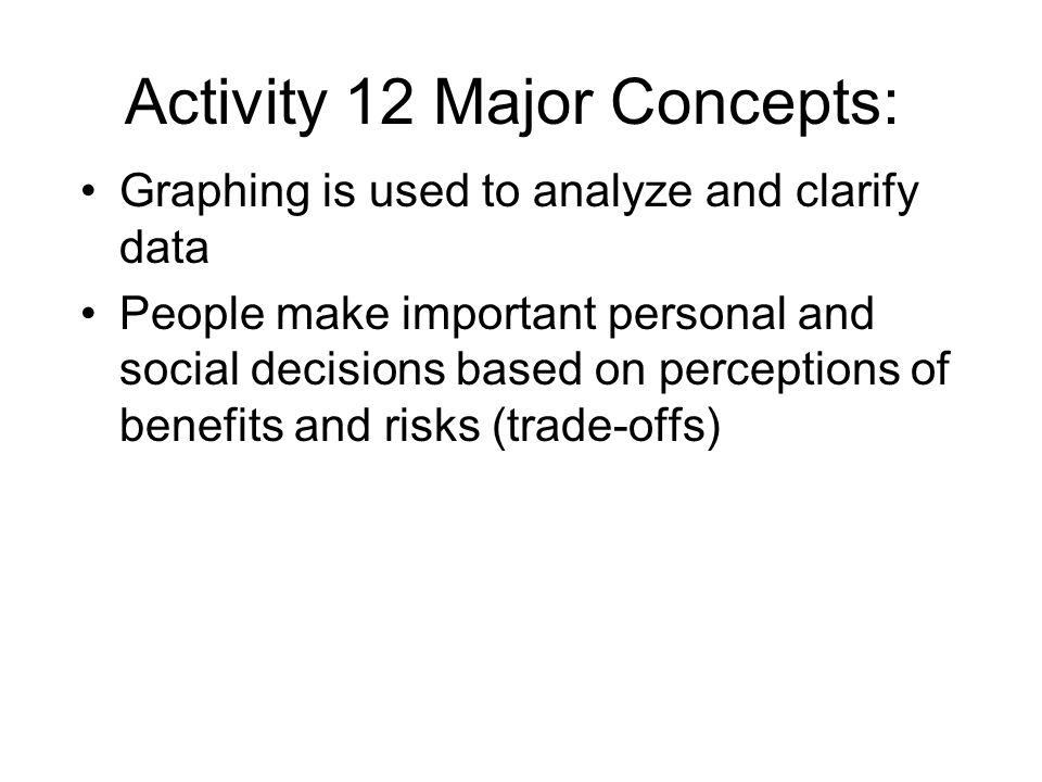 Activity 12 Major Concepts: Graphing is used to analyze and clarify data People make important personal and social decisions based on perceptions of benefits and risks (trade-offs)