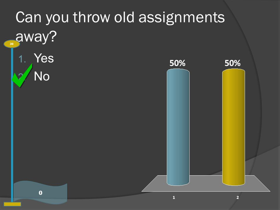 Can you throw old assignments away 0 30 1. Yes 2. No