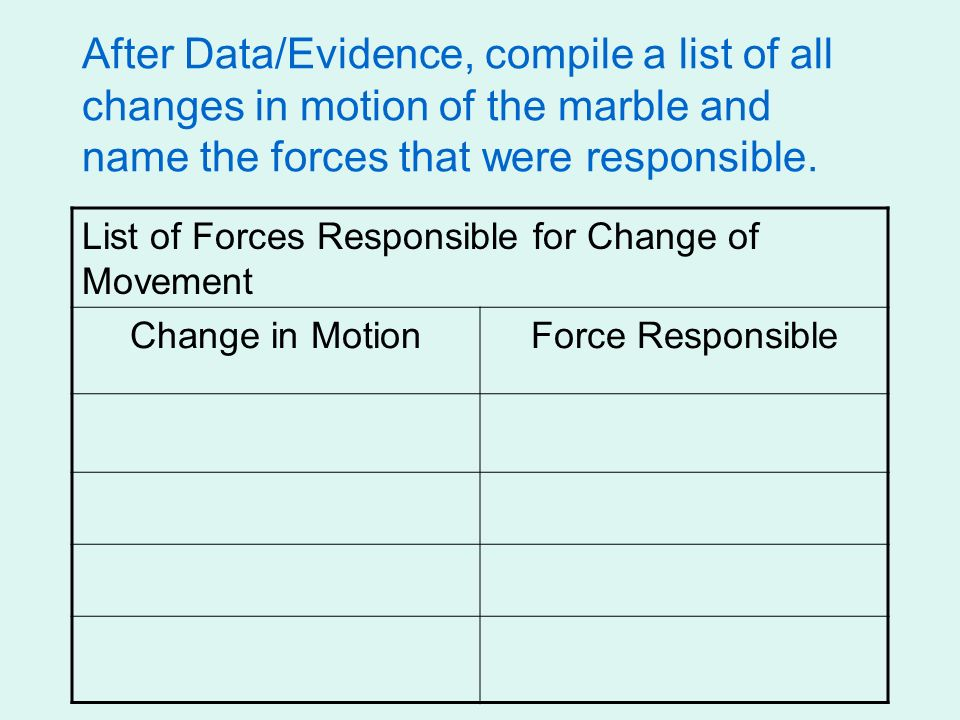 After Data/Evidence, compile a list of all changes in motion of the marble and name the forces that were responsible.